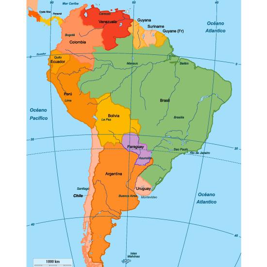 Mapa Político De Sudamérica.Mapa Politico De Sudamerica Editable Vector Mapa De