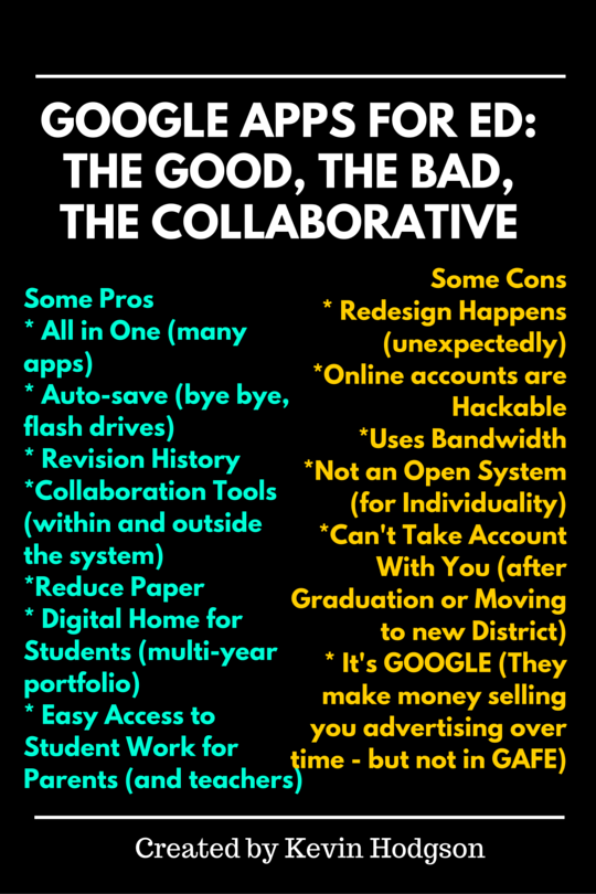 Google Apps for Ed The Good, the Bad, the Collaborative