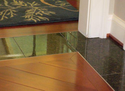Flush Tile To Wood Transition Inset Trim Wood Floor Design Modern Interior Decor Granite Flooring