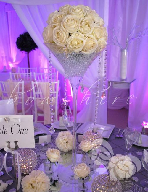 Martini Glass Centerpieces (with Aubergine And Ivory Roses?) Just One On  The Long Table Then Tea Lights Down Either Side?