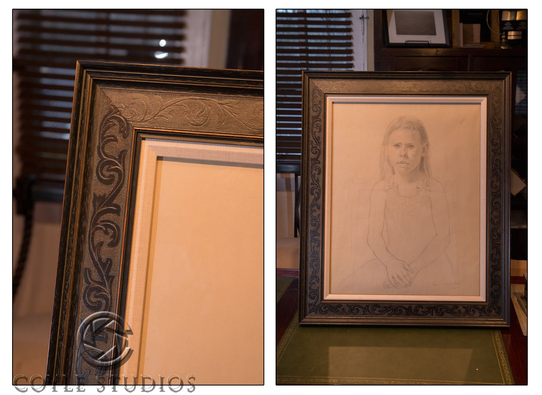 Artist Karen Warshal drew this fantastic portrait. The liner and french design frame really bring out the elegance of her craft.