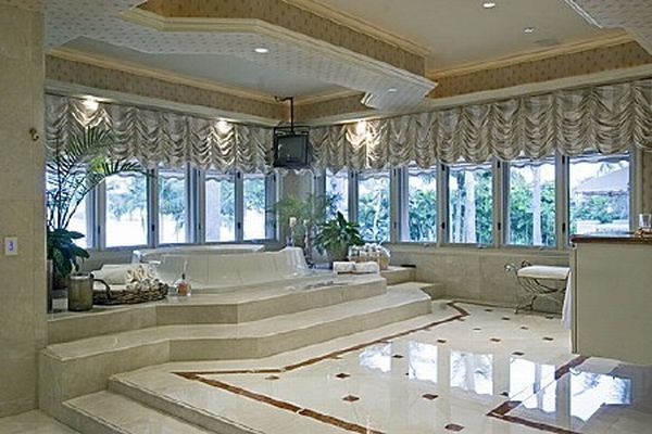 Bathroom Designs  The Best Luxury Design Also Beautiful Pendant Lamp Also  Beautiful White Floor Also Wall Also Glass Window Also White Tub Also White. shaquille oneals house in miami   Bathrooms   Pinterest   Miami