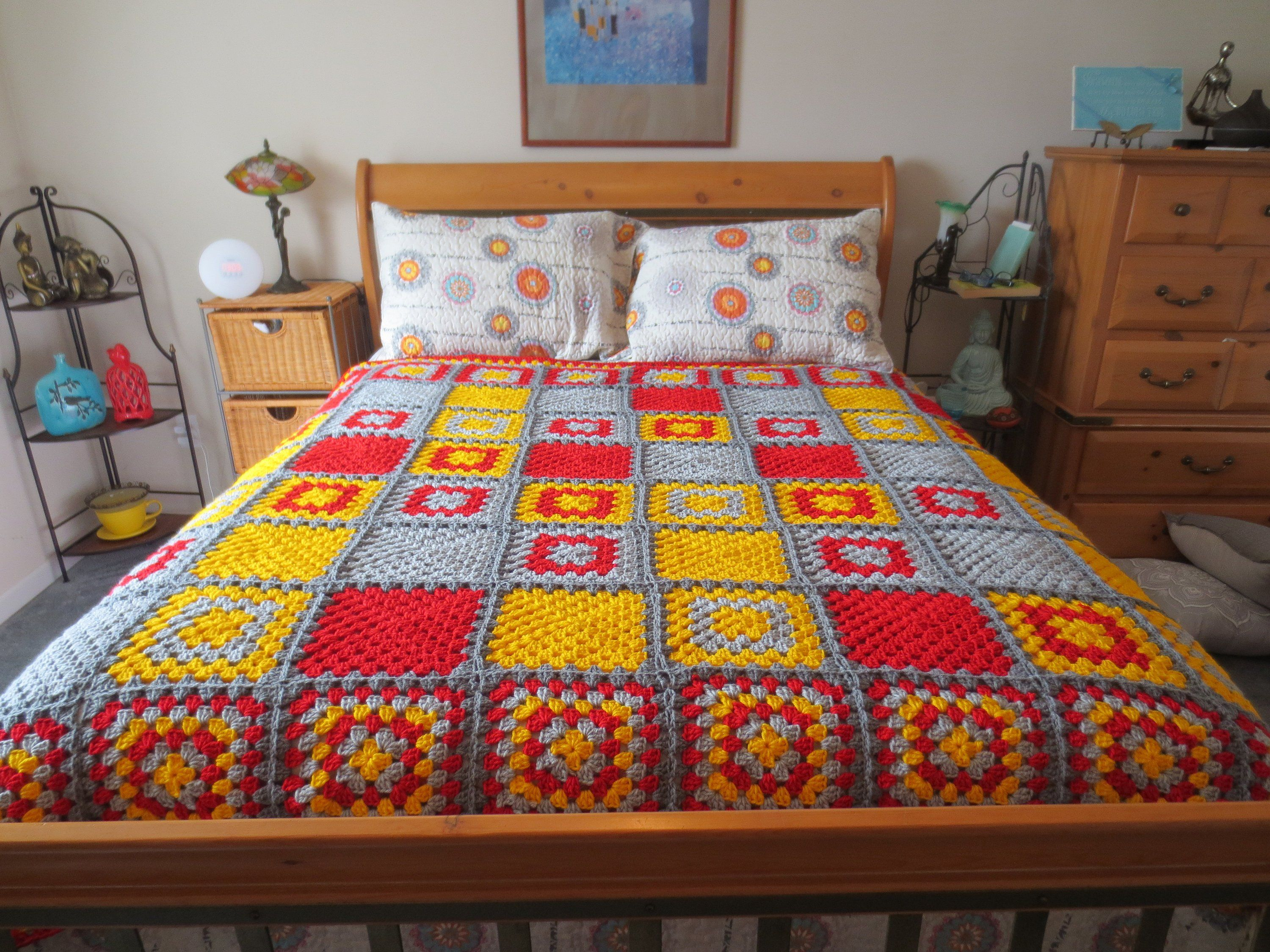 Crochet Red, Yellow and Gray Blanket, 68.5 x 68.5 in, Full