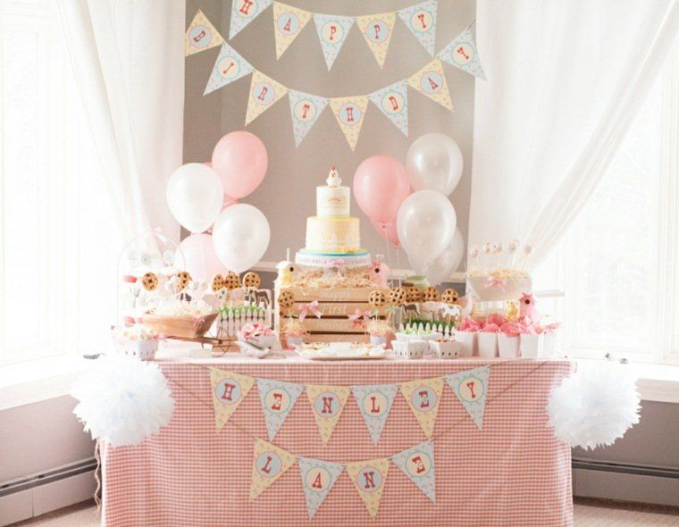 decoration anniversaire bebe fille 1 an