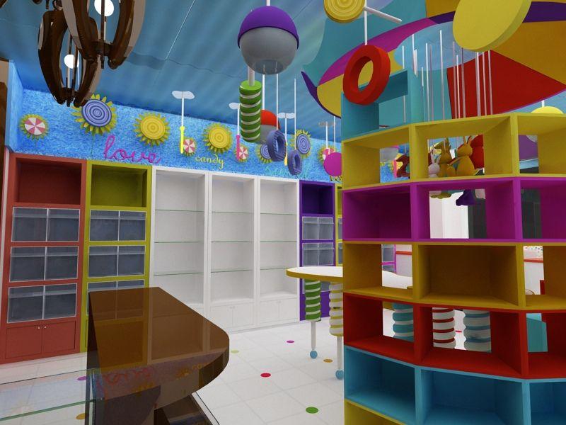 diseño de muebles para tienda de dulces. cocepto. local comercial