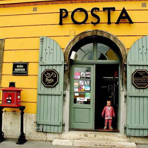 Post Office in Hungary. Shop fronts, Store fronts