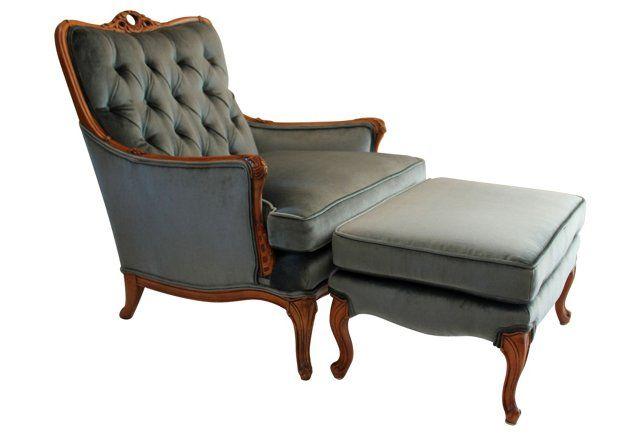 Awe Inspiring 1930S Hausske Velvet Chair Ottoman Set Teal Velvet Lamtechconsult Wood Chair Design Ideas Lamtechconsultcom