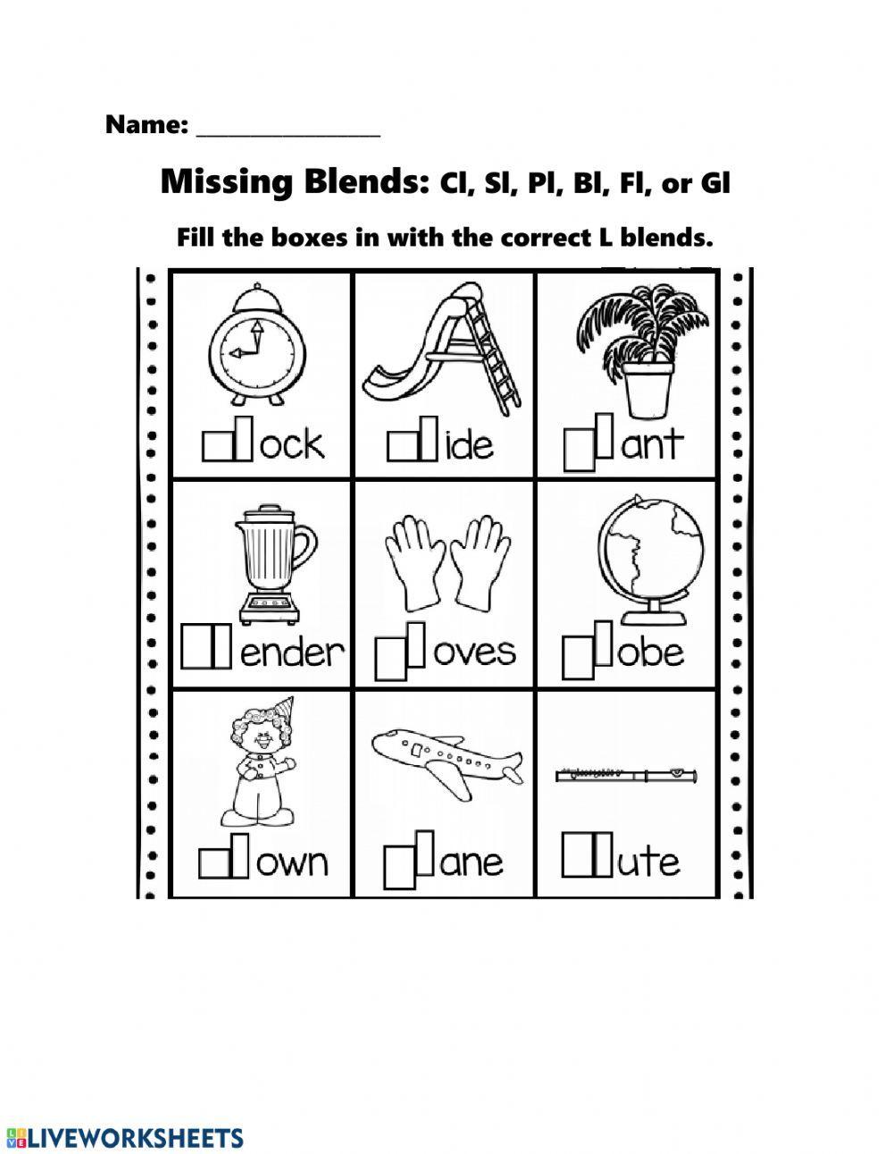 Missing L Blends Interactive Worksheet Blends Worksheets Kindergarten Worksheets Letter Recognition Worksheets [ 1291 x 1000 Pixel ]