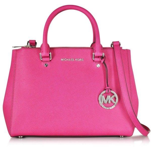 270afc24eedd6 Michael Kors Handbags Sutton Raspberry Saffiano Leather Medium Satchel...  ( 395) ❤ liked on Polyvore featuring bags