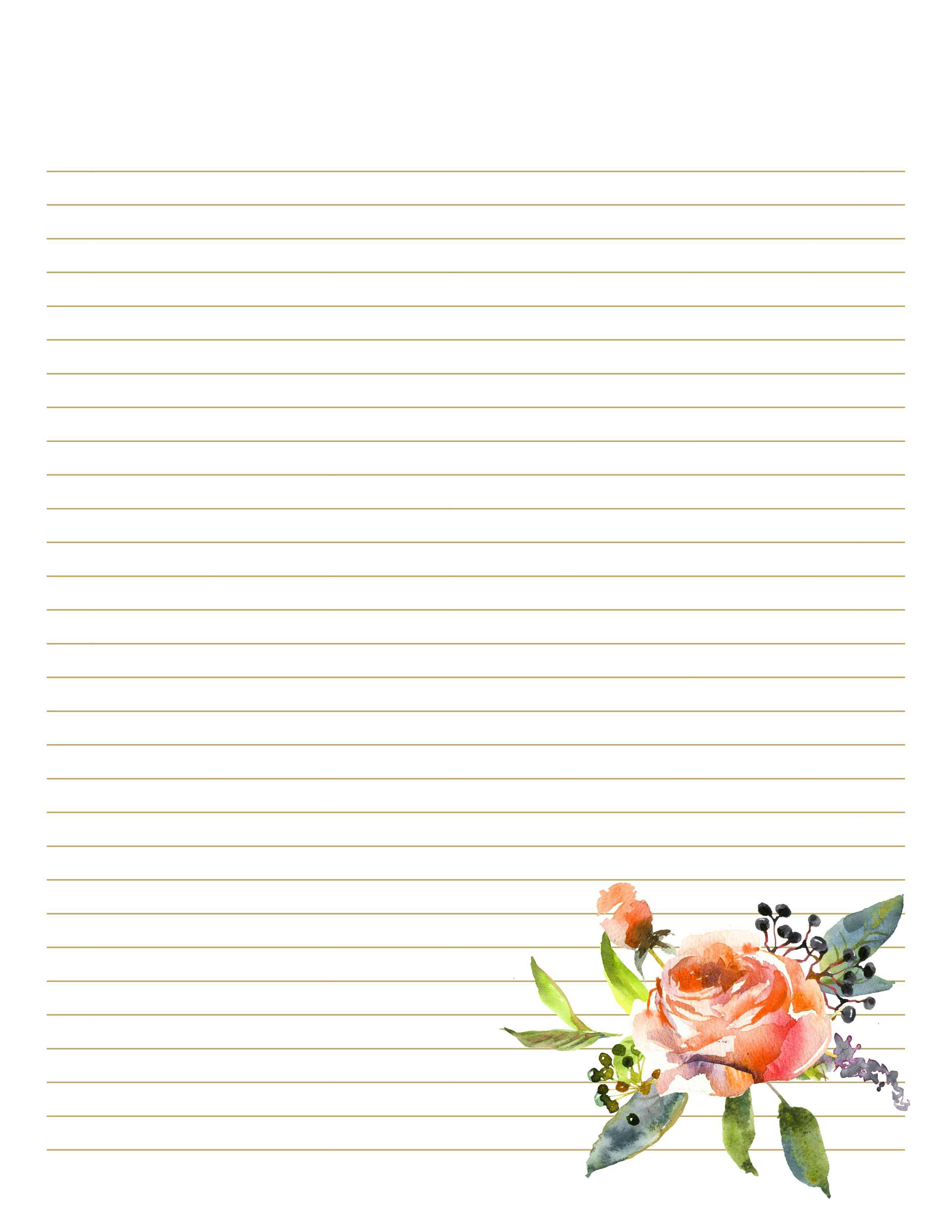 Floral Notepad Writing Paper Printable Stationery Floral Stationery Stationery Paper