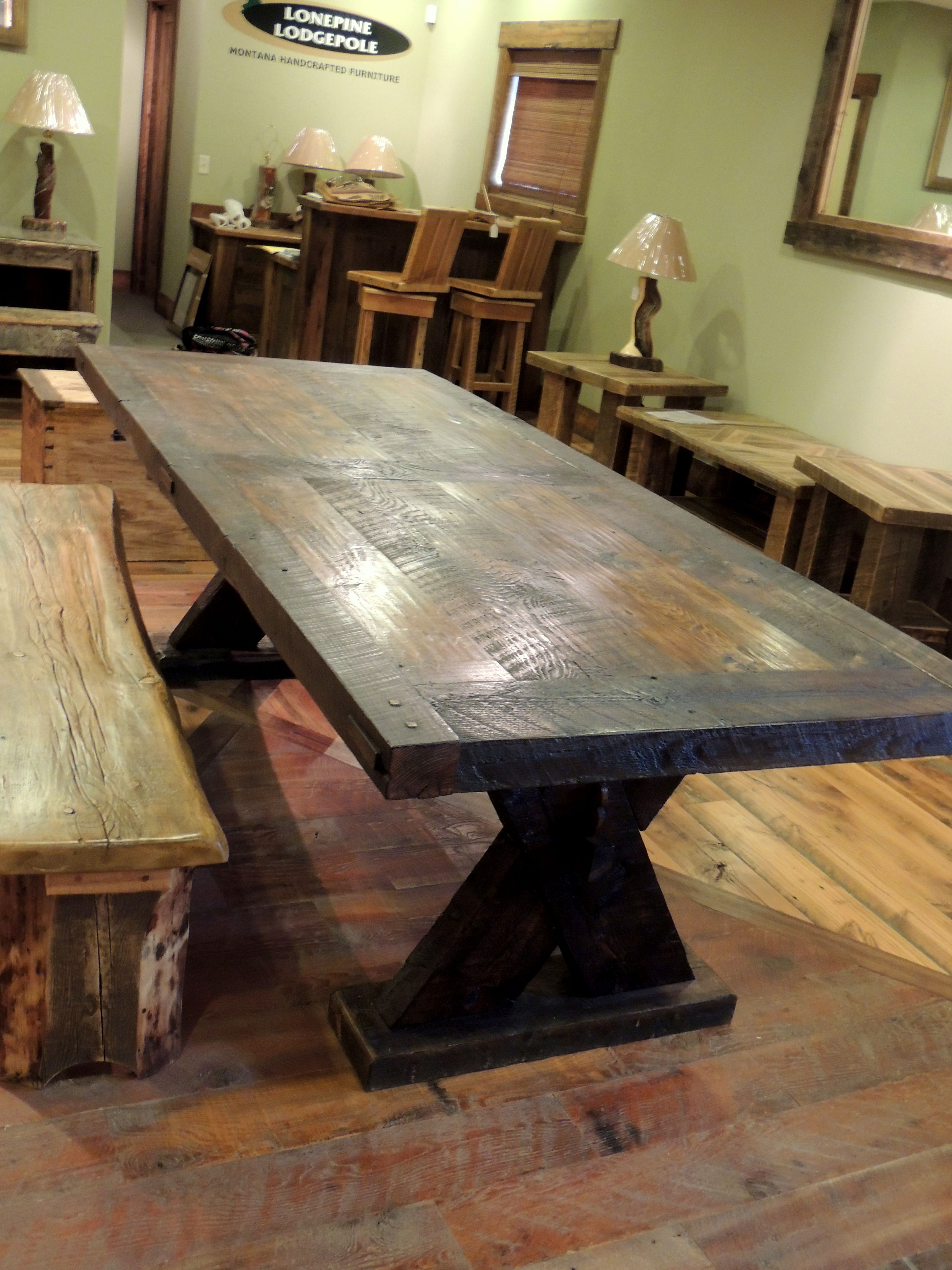 handcrafted rustic viking dining table   40  x97     wood from the bridge at handcrafted rustic viking dining table   40  x97     wood from the      rh   pinterest com