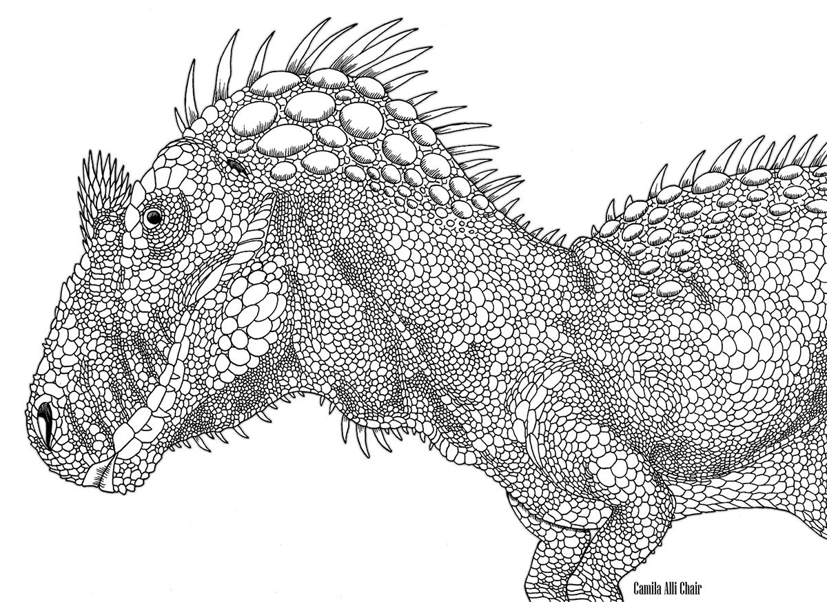 A Arte de Camila Alli Chair: Novas paleoartes! | Remake que fiz de um Allosaurus. O desenho original é de 2006 | b/w