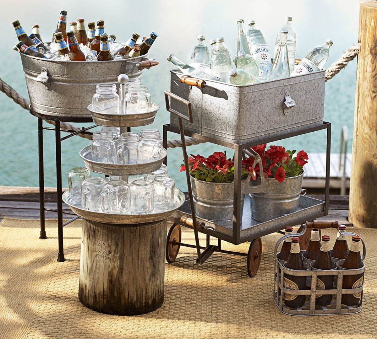 Galvanized Metal Party Bucket & Stand - Pottery Barn