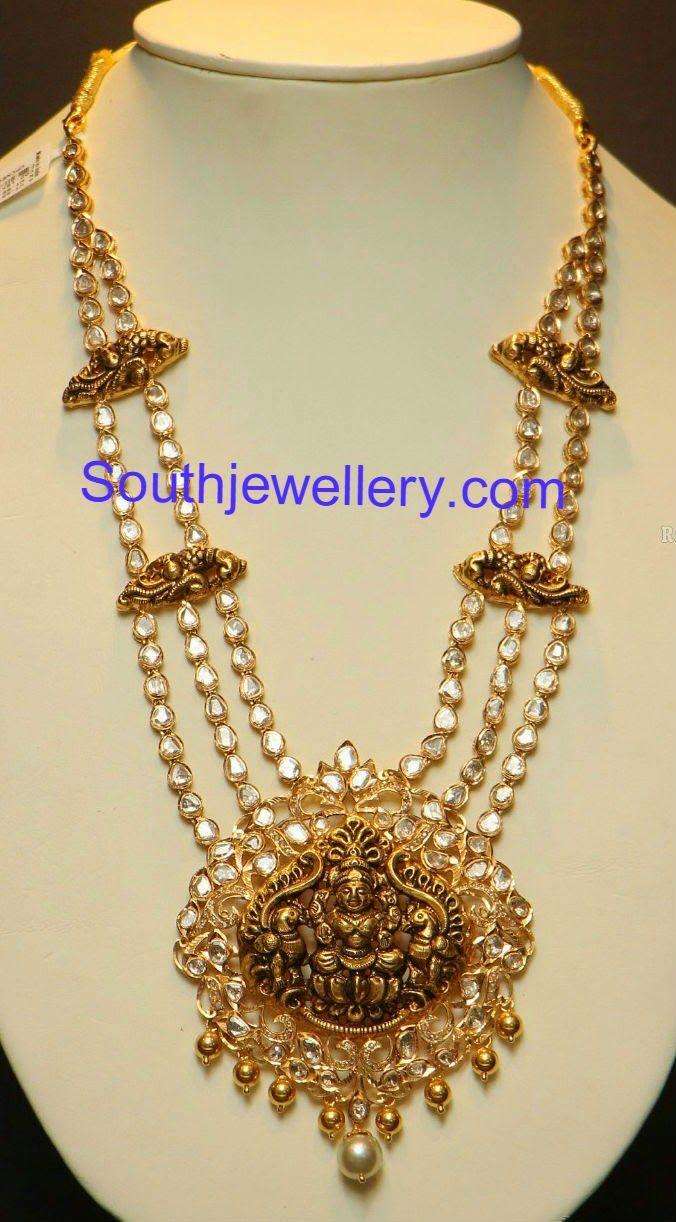 Elegant Kundan Haram with Lakshmi Pendant ~ Latest Jewellery ...