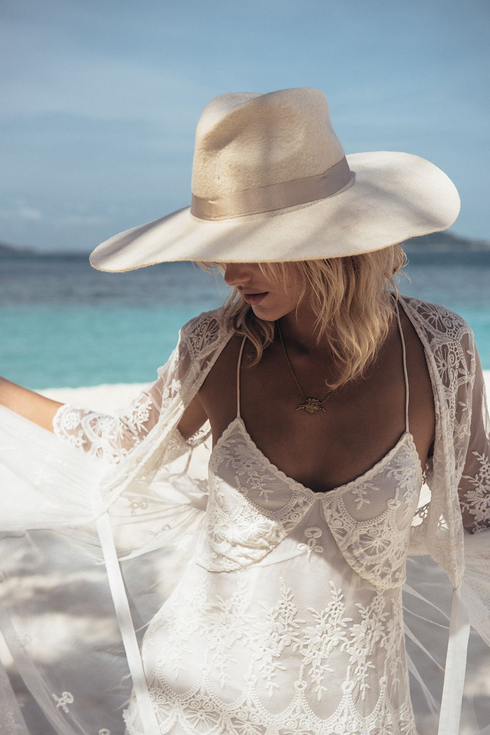 Boho lace wedding dress for Boho beach Bride