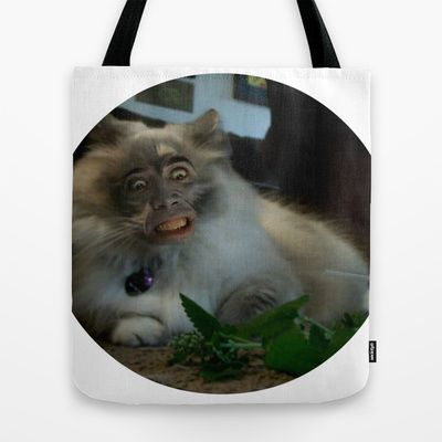 Nicolas Cage Cat Wants Nip Tote Bag by HiddenStash Illustration - $22.00
