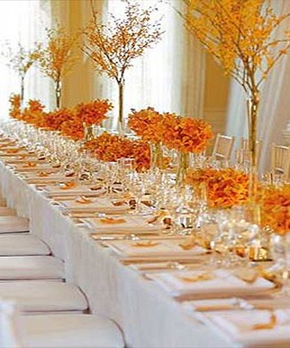 Gold And White Wedding Ideas: Tablescape With White Linens, Orange Accents, Glints Of