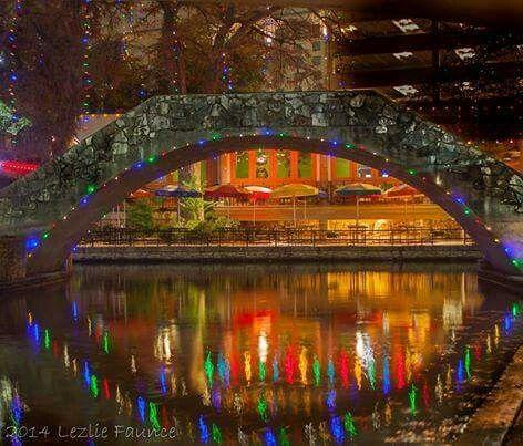 San Antonio river walk at Christmas time.