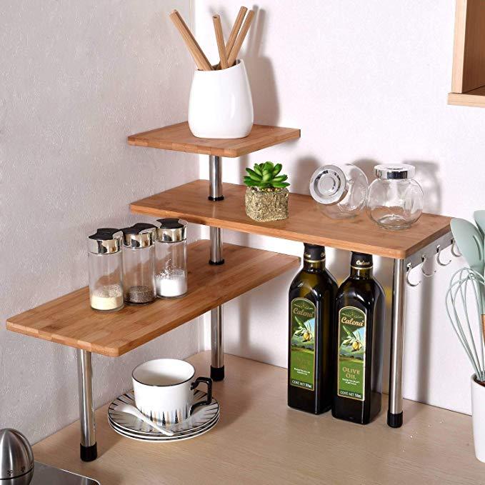 Amazon Com Ollieroo 3 Tier Corner Shelf Bamboo Spice Rack Desk Bookshelf Display Shelves Space Saving Orga In 2020 Corner Shelving Unit Bamboo Spice Rack Bamboo Shelf