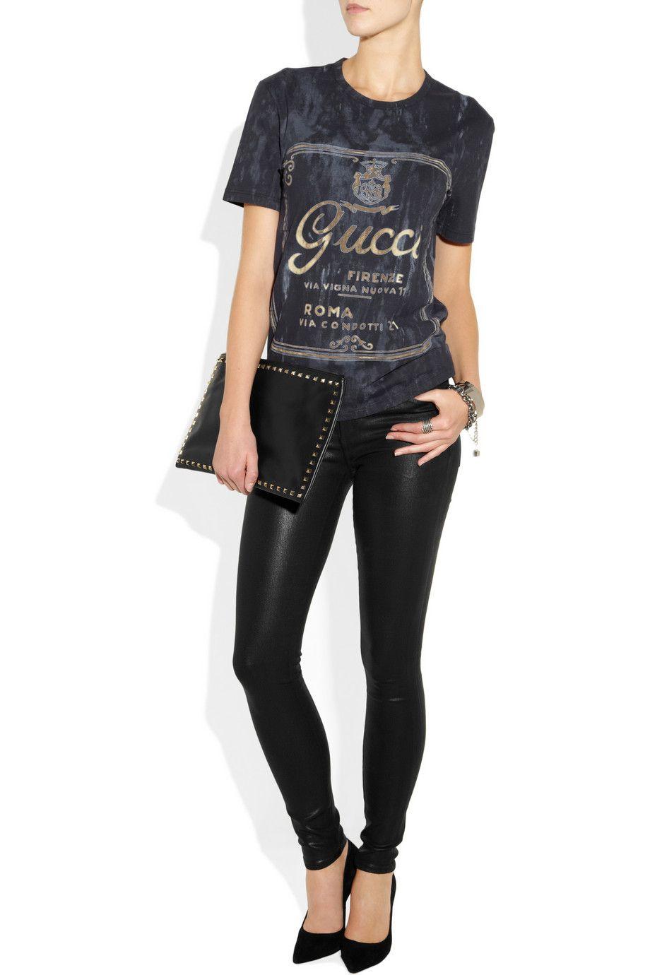 985bdde44 Gucci | Printed cotton-jersey T-shirt | NET-A-PORTER.COM | Clothes ...