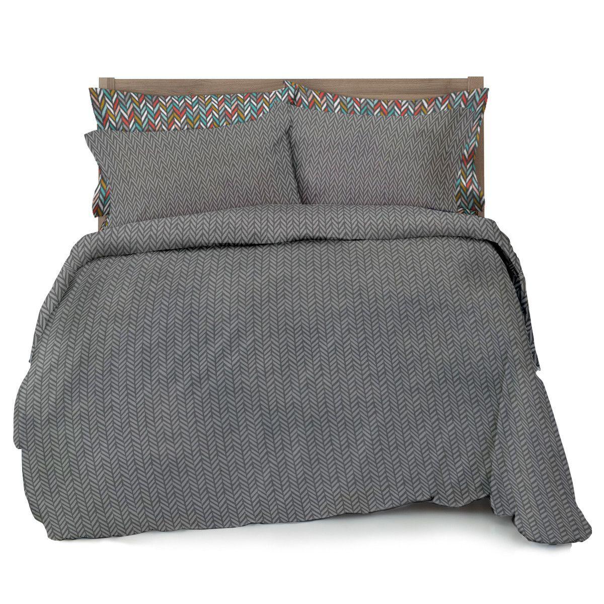 Double Brushed Ultra Microfiber Grey Herringbone Comforter
