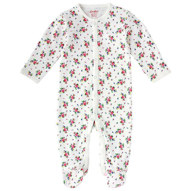 BuyCath Kidston Baby Hankie Rose Sleepsuit, White, 6-12 months Online at johnlewis.com