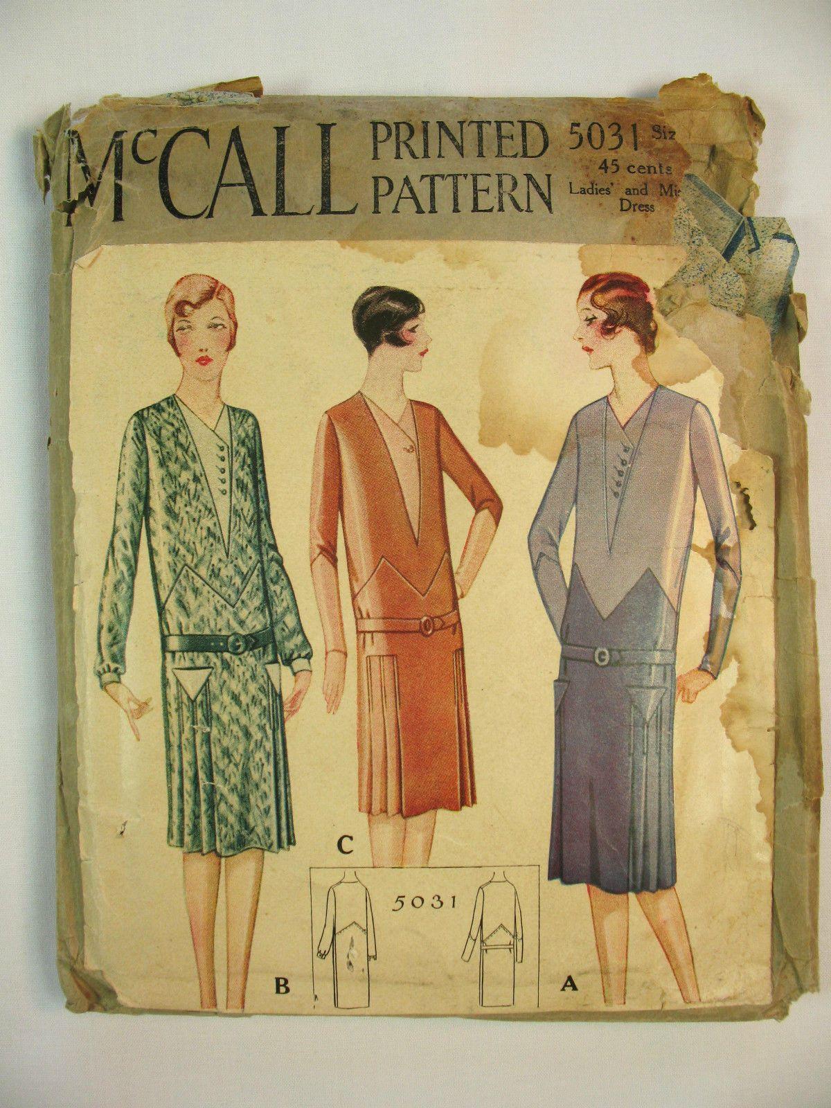 Two McCall 1920\'s Vintage Flapper Era Dress Patterns | 1920s ...