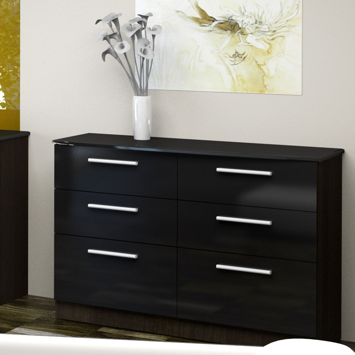 The Chester High Gloss Black And Ash 6 Drawer Chest Furniture Bedroom