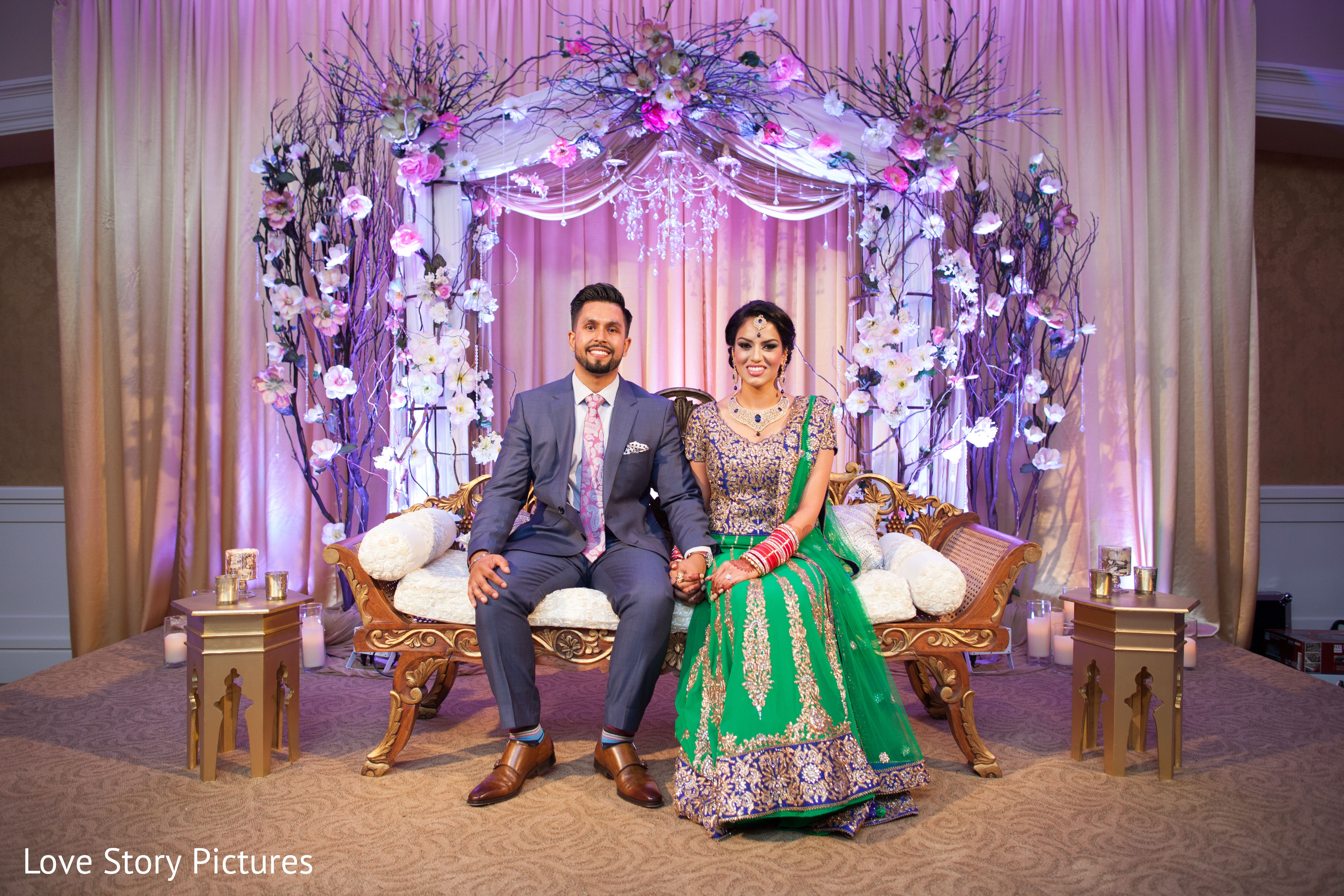 Uncategorized Wedding Reception Backdrop Decorations purple red lehenga with backdrop google search pakistani an indian bride and groom celebrate at their wedding reception