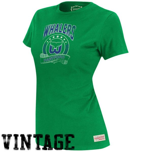 610cb06af1647 Mitchell   Ness Hartford Whalers Women s Vintage Tailgate Crew T-Shirt -  Green -  34.99