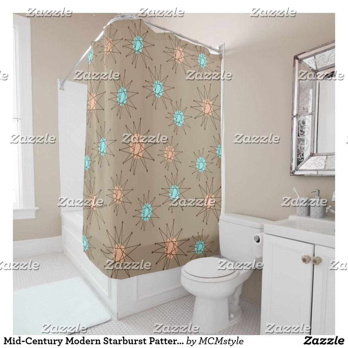 Mid Century Modern Starburst Pattern Tan Shower Curtain Zazzle