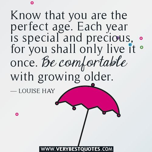 Perfect Age Inspirational Quotes Words Of Encouragement Aging Quotes