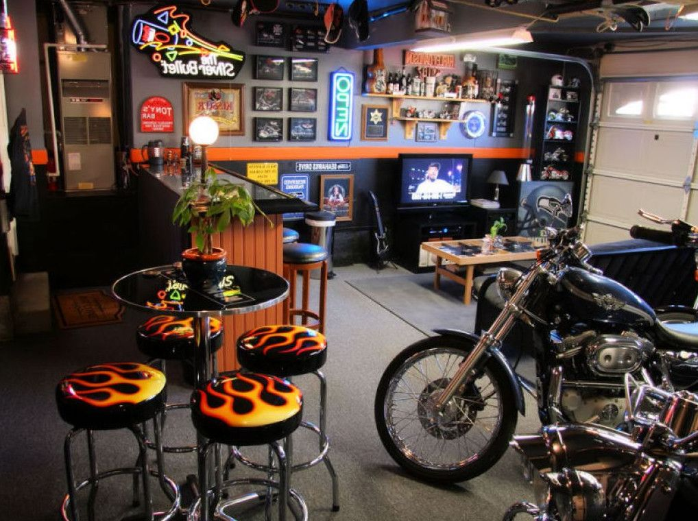 Garage Man Cave Ideas | Theme Garage / Man Cave With Motorcycles And  Mustang   The Garage ... | Ultimate Garage | Pinterest | Man Caves, Cave  And Man Caves