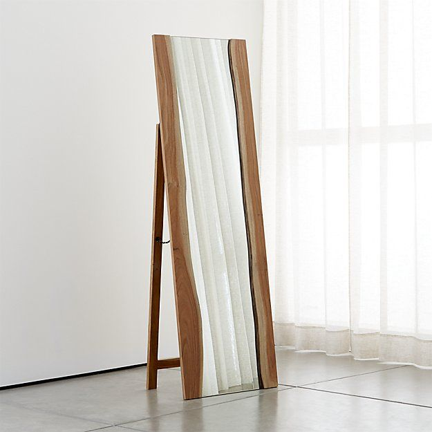 Looking For A Unique Looking Full Length Mirror This Live Edge Floor Mirror From Crate And Barrel Will Do The Trick Floor Mirror Freestanding Mirrors Decor