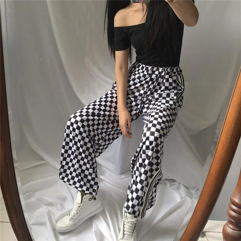 3b7f2d19217346 itGirl Shop CHECKER GRID BLACK WHITE OVERSIVED SPORTISH GRUNGE PANTS Aesthetic  Apparel