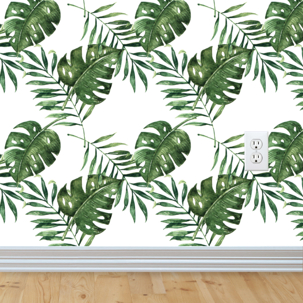 Palm Leaf Wallpaper Removable Wallpapers Floral Tropical Wallpaper Self Adhesive Jungle Wall Decal Palm Leaf Wallpaper Leaf Wallpaper Removable Wallpaper