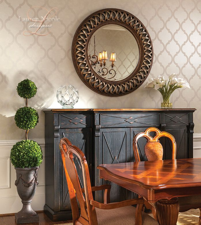 Large Mirror Above Dining Room Buffet Table Lauren Nicole Designs