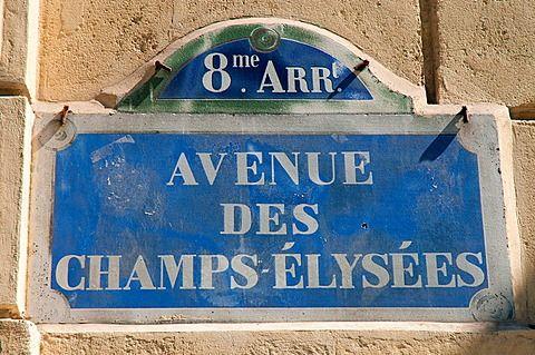 Street sign on the Avenue des Champs-elysees, Paris
