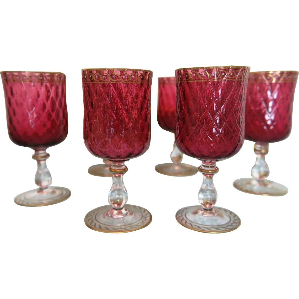 Six Bohemian Cranberry Wine Goblets With Gold And Enamel Adornment Ca 1900 Found At Www Rubylane Com Vintagebeginshere Winewednesday Al Fresco