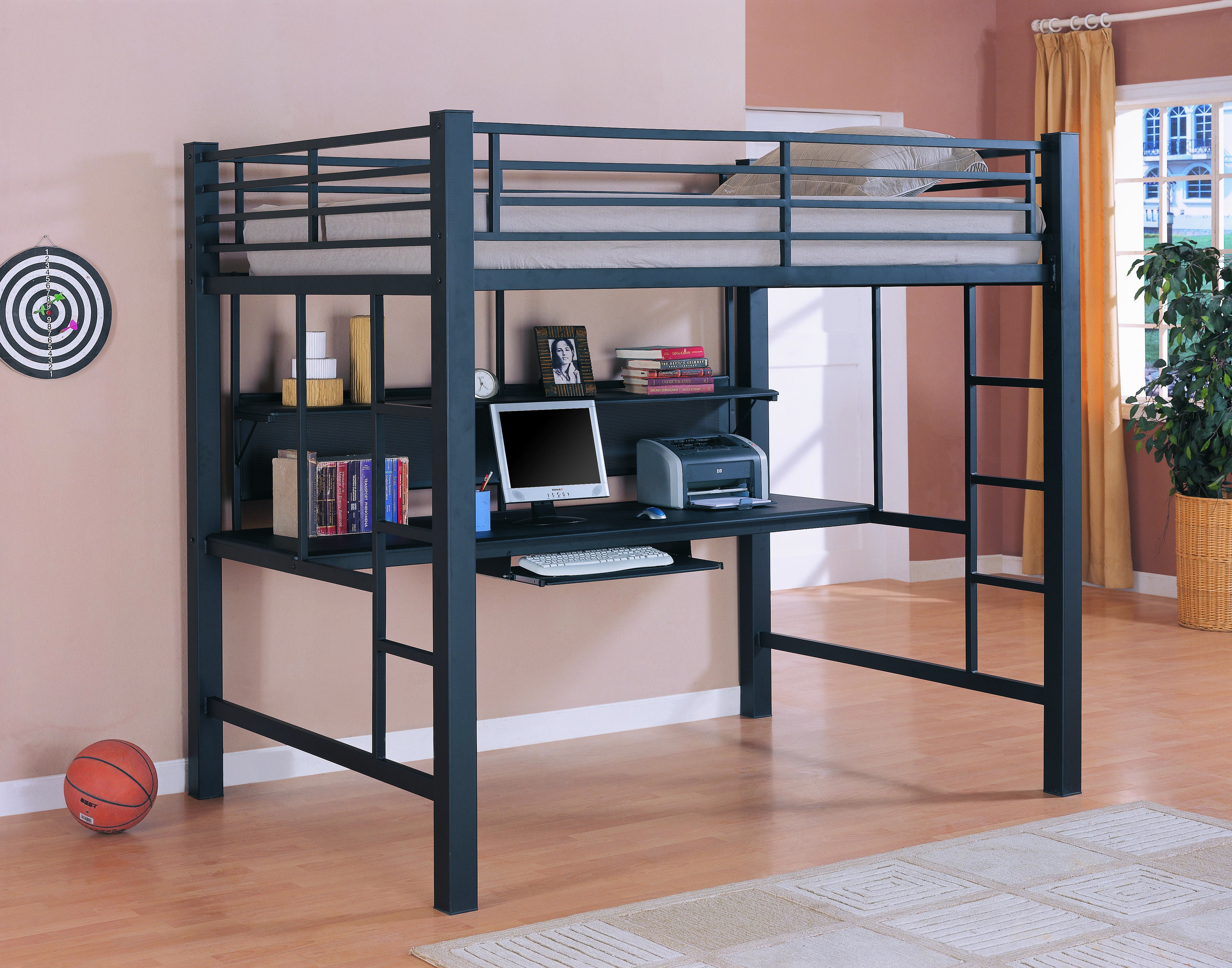 Coaster Bunks Collection 460023 Workstation Full Size Loft Bed With Large Desk Keyboard Tray And Shelf In Metal