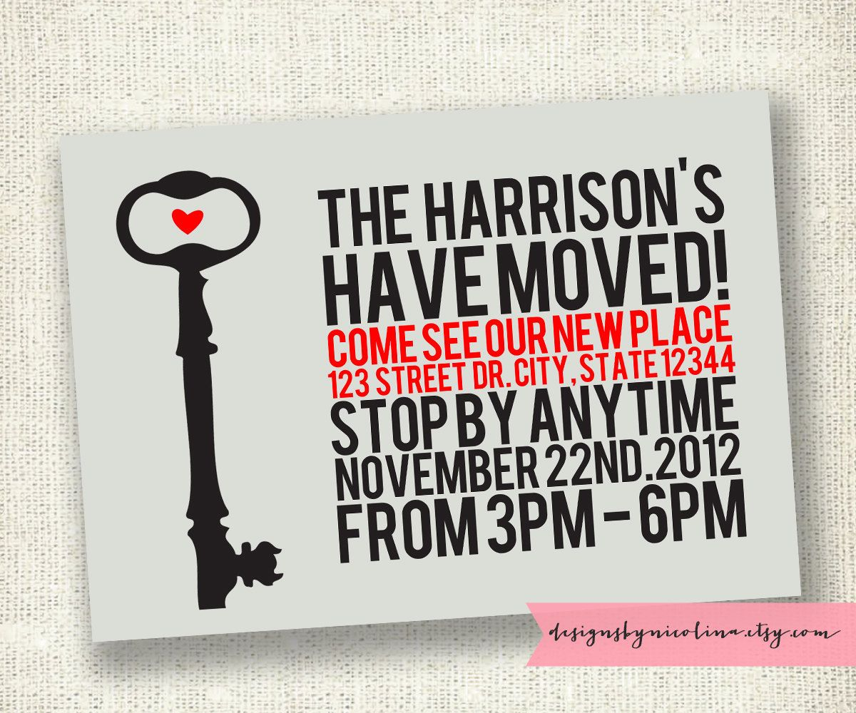 Key Poster Style - We\'ve Moved Announcement - Housewarming Party ...