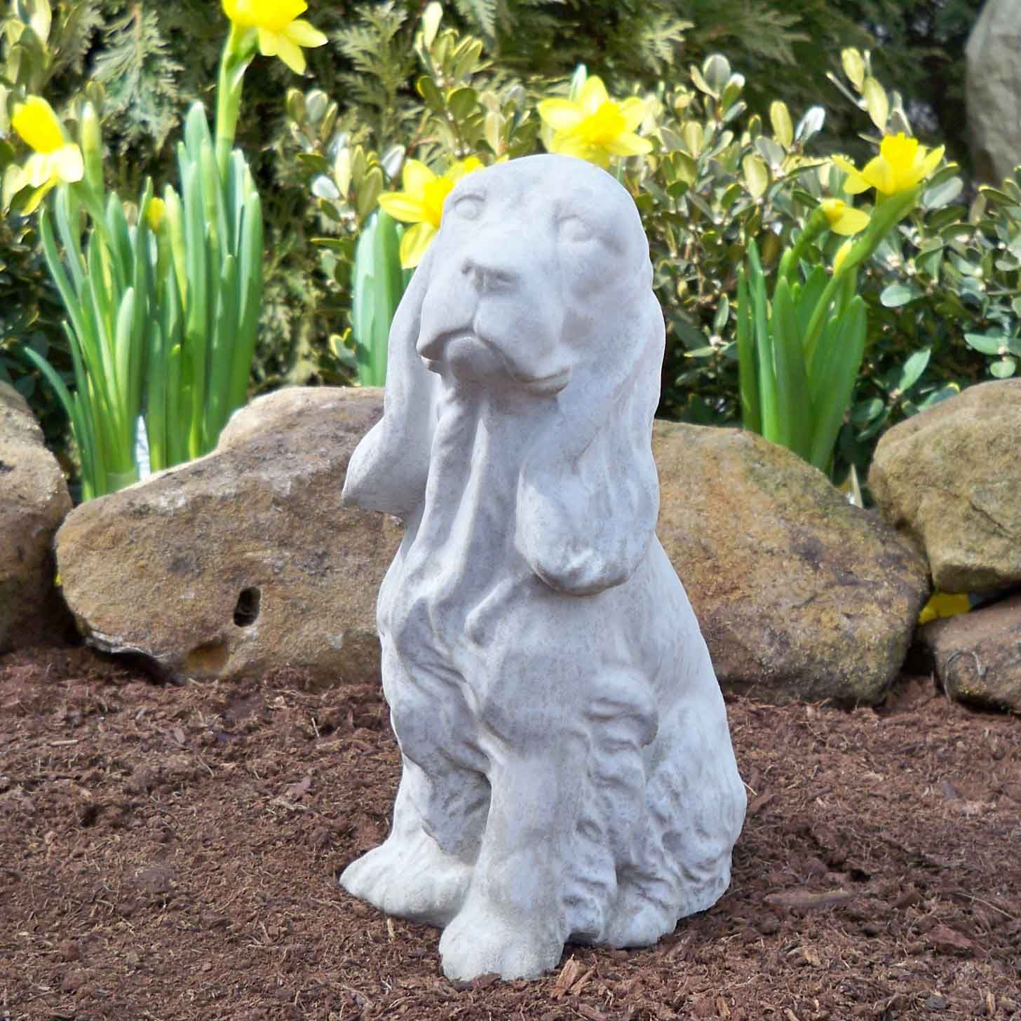 garden figurines Springer Spaniel statues and cocker spaniel