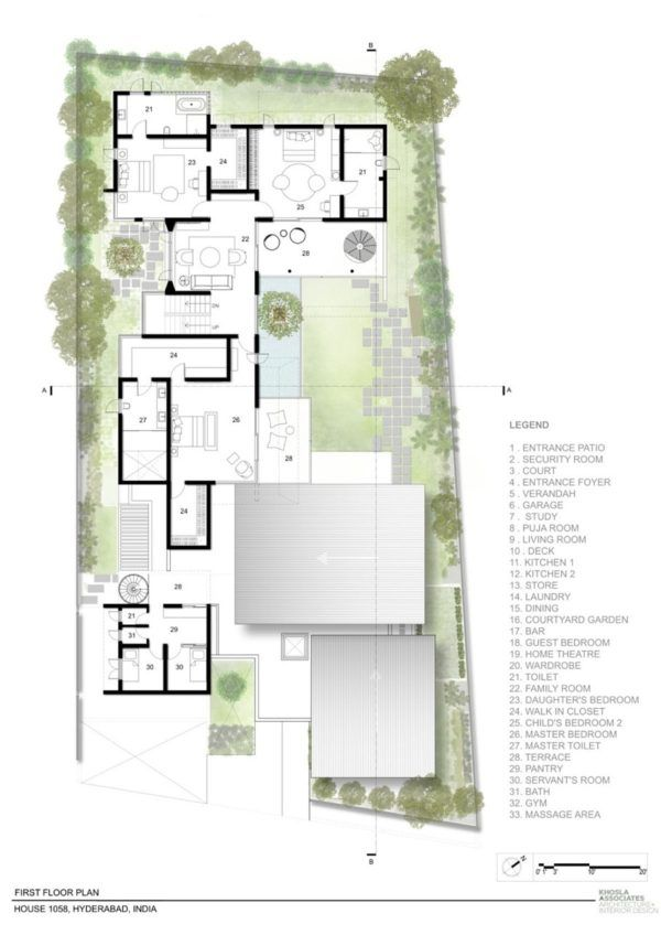 House 1058 Series Of Cantilevered Roofs And Gardens Offer Sheltered Hangouts Hotel Floor Plan Architectural Floor Plans Architectural House Plans