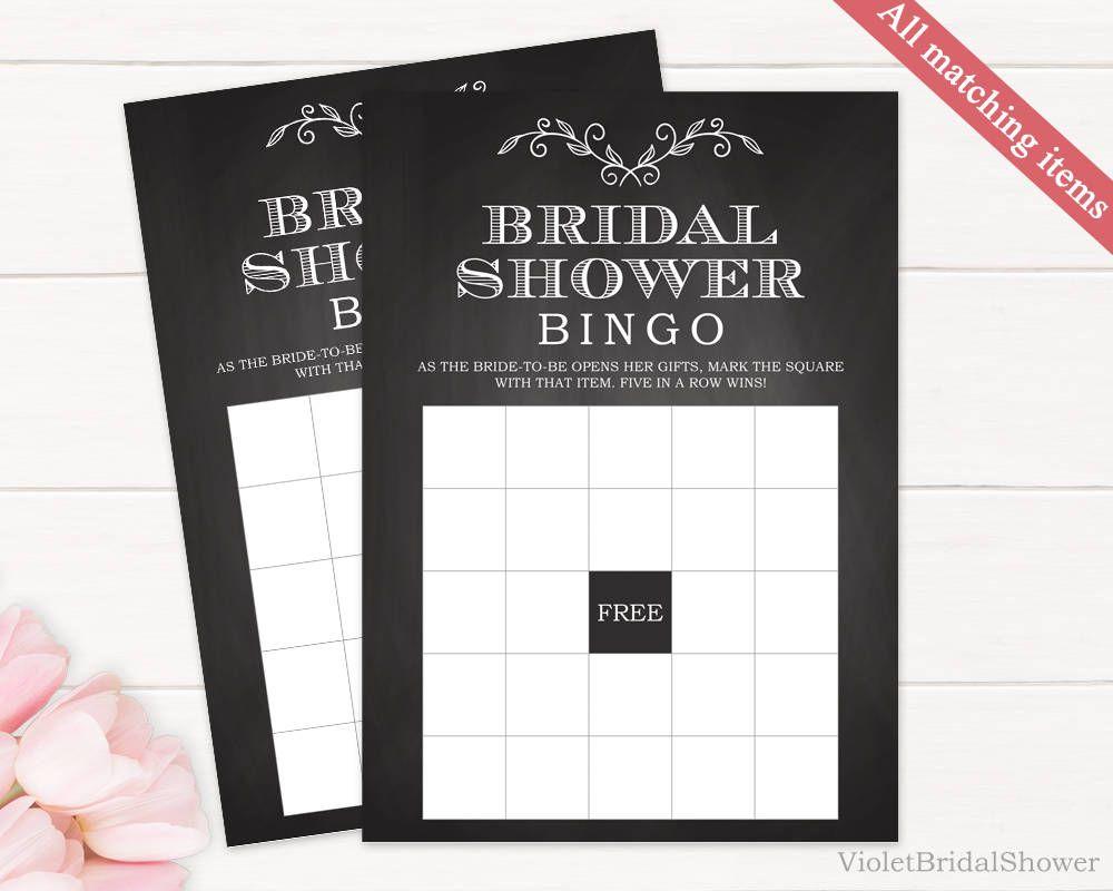 Chalkboard Bingo Game Template. Printable Bridal Shower Bingo Game ...