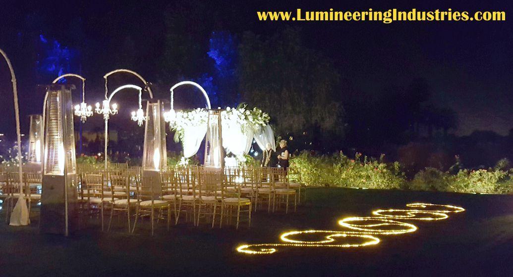 Creating ambiance with LED lighting for this New Year's Eve Wedding Ceremony #lumineeringindustriesinc #twdta #iwgr #nye2017