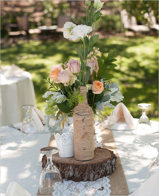 Rustic Wedding Ideas And Arrangements: Shabby Chic Backyard Wedding. Captured By: Jessica