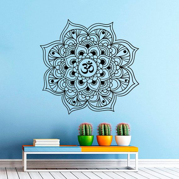 Wall decal mandala yoga namaste oum om sign murals indian pattern design wall decals bedroom studio
