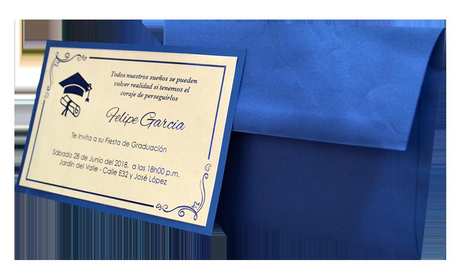 Tarjeta Invitacion Grado Efecto Metálico Tarjetas De