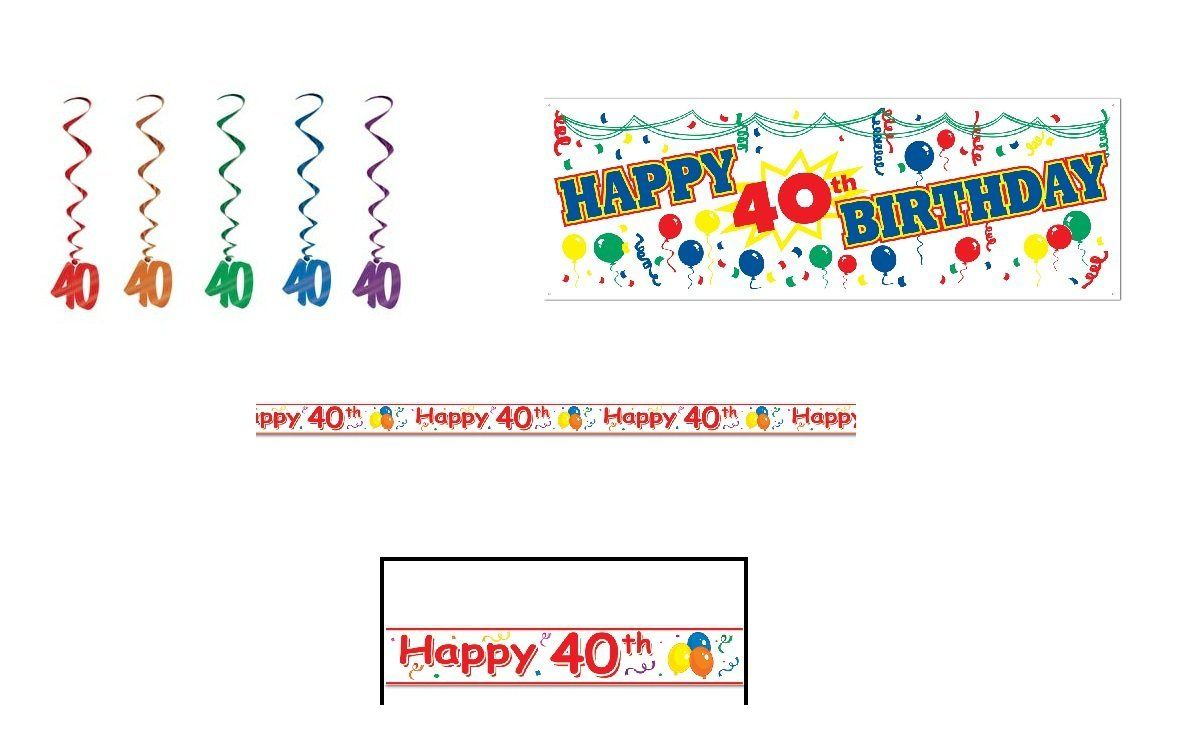 Amazon.com: HAPPY 40th Birthday Party Decorations LOOK Who's 40/SIGN/Banner/WARNING TAPE/HANGING Whirls/DECOR/OLD/Over the HILL/FORTY/FORTIE...