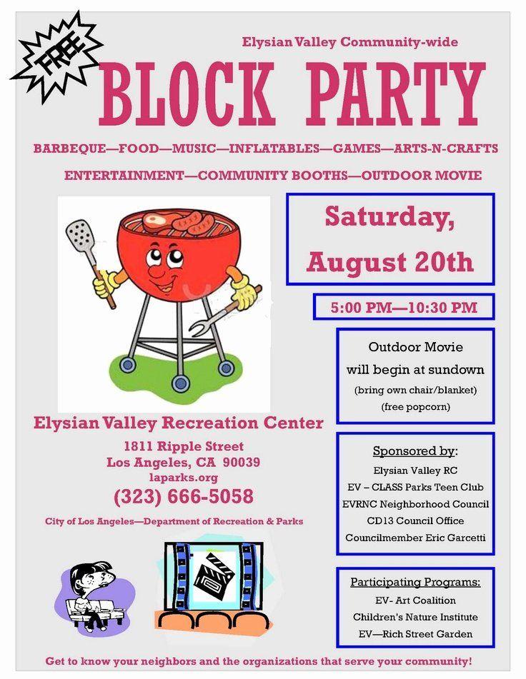 Neighborhood Block Party Flyer Template in 2020 Party